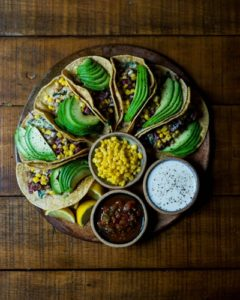 A plate of expertly arranged tacos