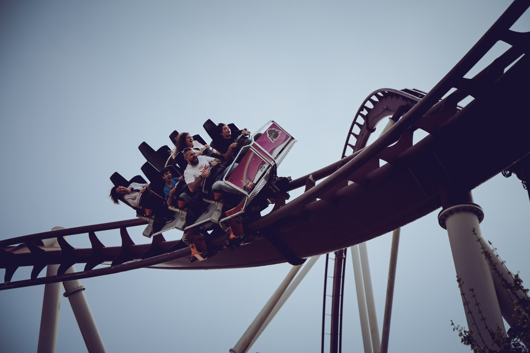 People on a rollercoaster.