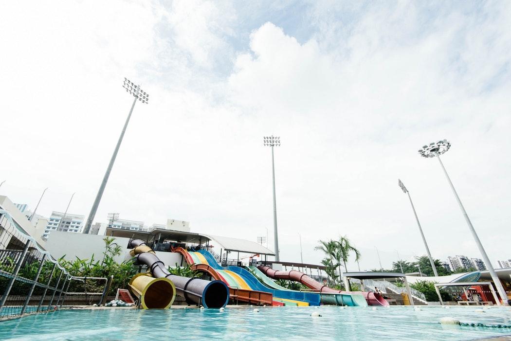 Slides at a waterpark.